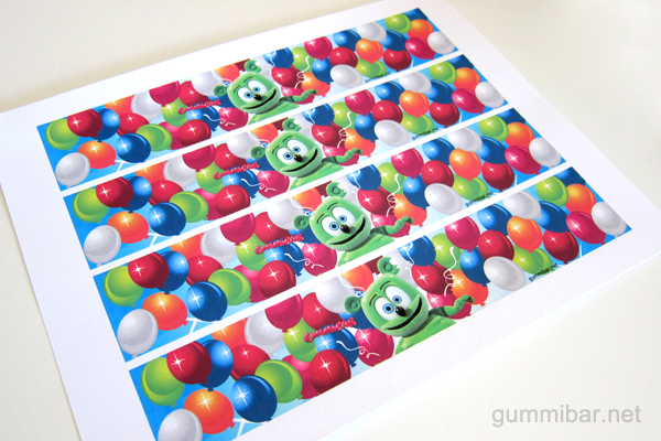 Sheet of Gummibär Water Bottle Wrappers