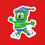 gummibar the gummy bear blue winter skating sticker festive holiday ice skate the gummy bear song i am a gummybear international kids childrens cartoon character animated animation web series youtube youtuber