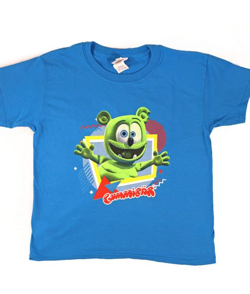 gummibar t-shirt adults kids apparel shirts clothing for children cartoon character merchandise gummy bear song i am a gummybear international sapphire blue shirt fun geometric shapes colorful