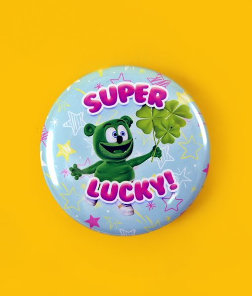 super lucky st patrick's day button gummibar the gummy bear