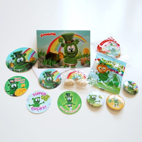 Gummibär (The Gummy Bear) St. Patrick's Day Fun Bundle ~ Gift Set - Stickers Magnet Buttons Gummy Candy Rainbow Leprechaun Note Card