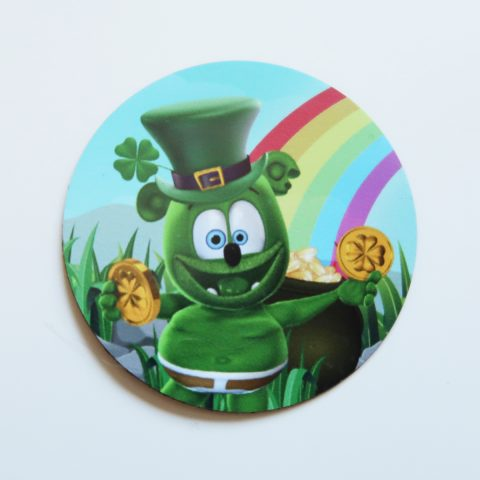 "Gummibär (The Gummy Bear) St. Patrick's Day 2"" Round Vinyl MAGNET ~ Rainbow Leprechaun Pot Of Gold"