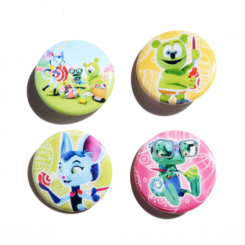 "Set of 4 Gummibär (The Gummy Bear) Easter 1.5"" Pinback Buttons"