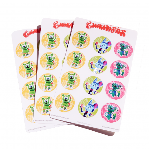 """Gummibär (The Gummy Bear) 1"""" Round Easter Stickers ~ 3 Sheets ~ 36 Stickers"""