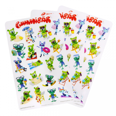 Gummibär (The Gummy Bear) Summer Stickers ~ 3 Sheets ~ 63 Stickers