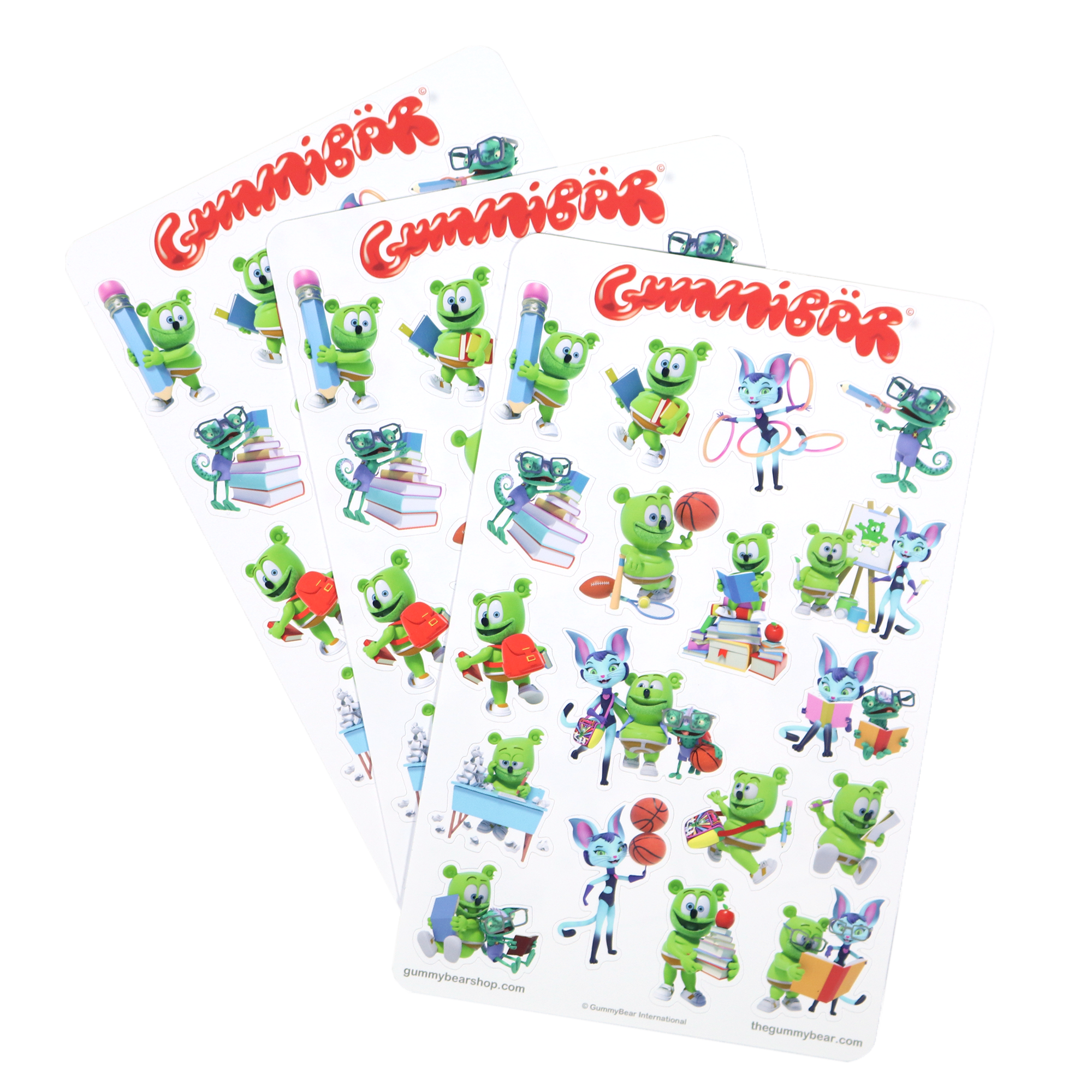 Gummibär (The Gummy Bear) Back to School Stickers ~ 3 Sheets ~ 57 Stickers