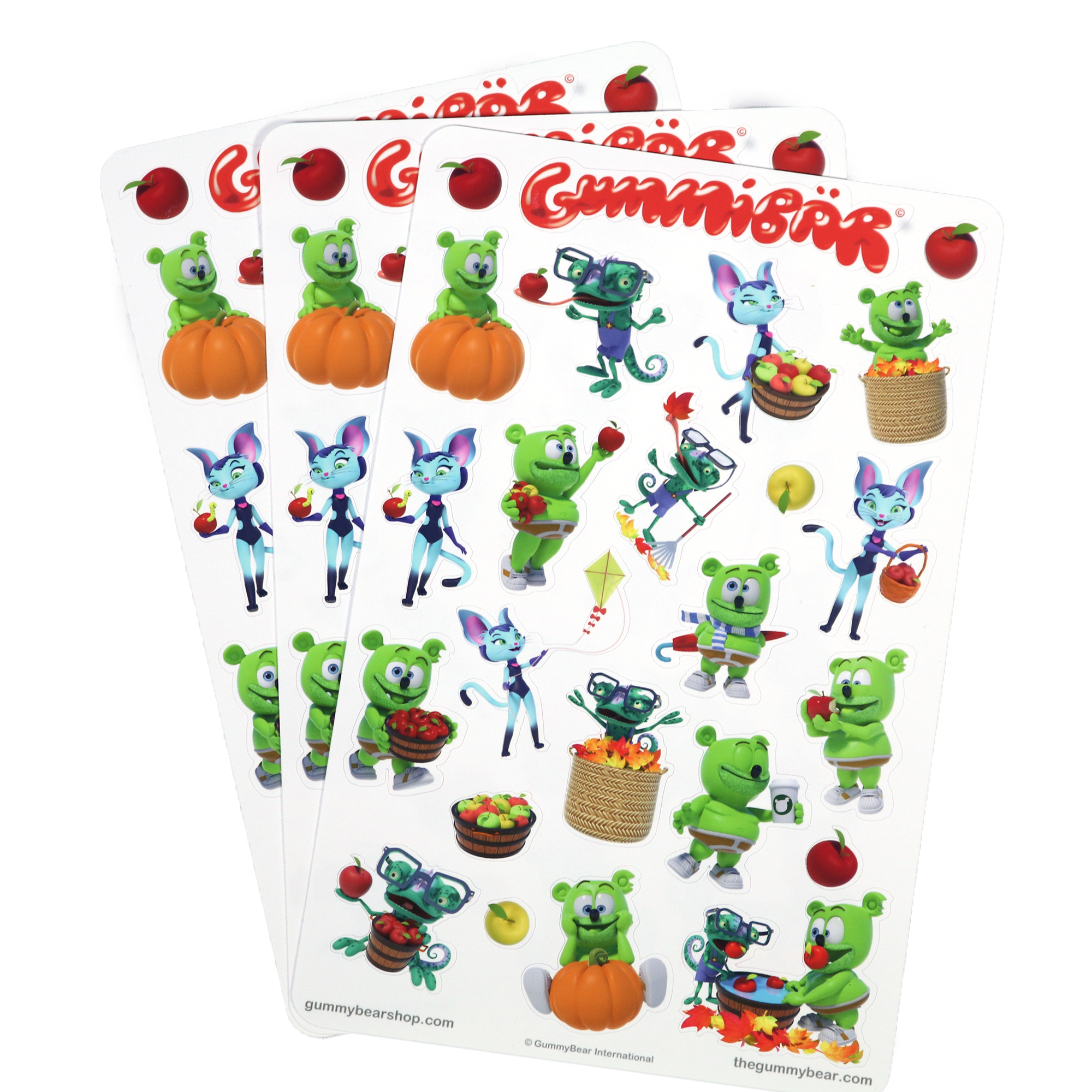 Gummibär (The Gummy Bear) Fall Stickers ~ 3 Sheets ~ 72 Stickers